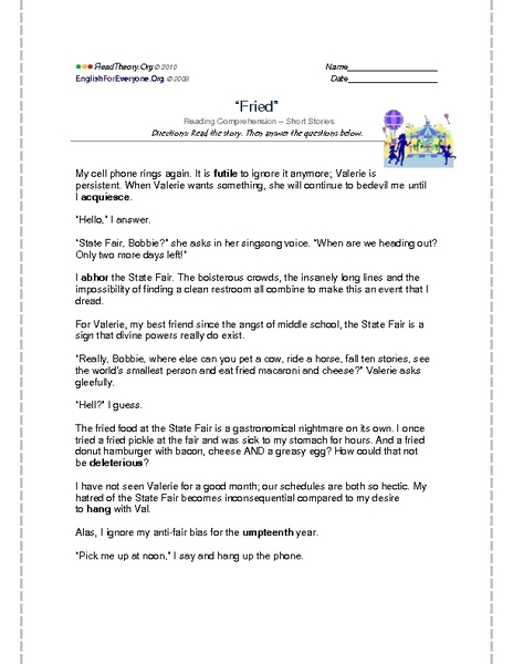 Reading Comprehension Quot Fried Quot Worksheet For 9th 10th