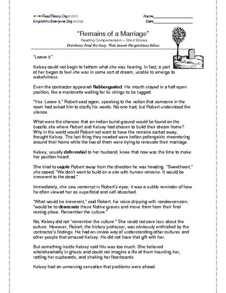 Reading Comprehension - Short Stories:
