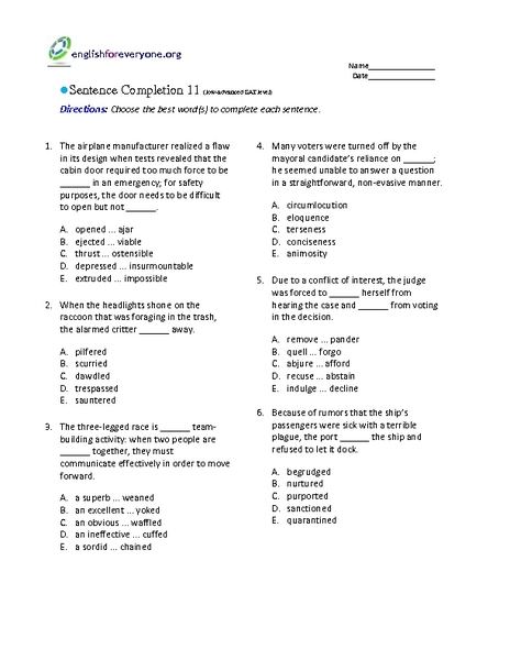 Sentence Completion 11: Low-Advanced SAT Level Worksheet