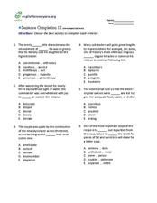 Sentence Completion 12: Low-Advanced SAT Level Worksheet