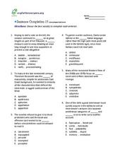 Sentence Completion 15: Low-Advanced SAT Level Worksheet