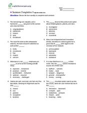 Sentence Completion 9: High-Intermediate Level Worksheet