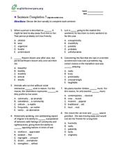 Sentence Completion 7: High-Intermediate Level Worksheet