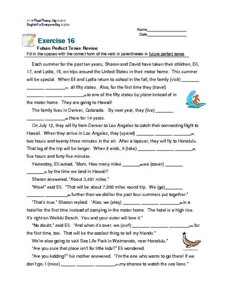 100+ [ Worksheets On Perfect Verb Tenses ] | 55 Best Past Perfect ...