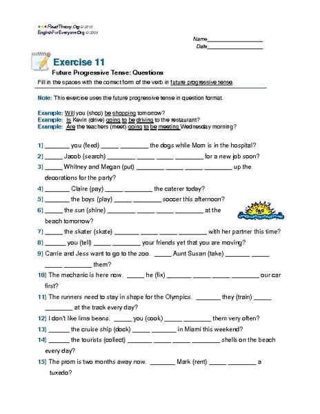 Future Progressive Tense: Questions 6th - 8th Grade Worksheet ...