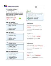 Word Pair Analogies 1 (low-advanced level)  Worksheet