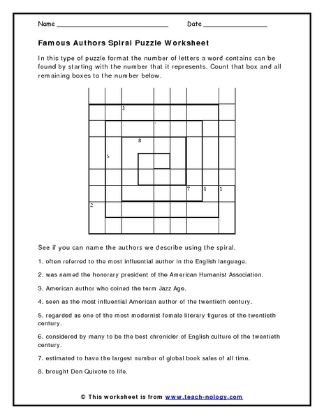 Famous Authors Spiral Puzzle Worksheet Worksheet