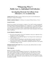 """Whispering Wires"": Public Law vs. Individual Civil Liberties Lesson Plan"