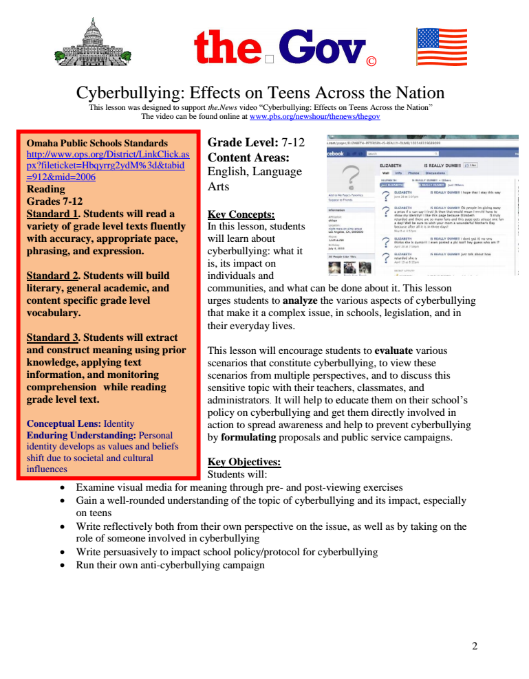 Cyberbullying: Effects on Teens Across the Nation (Segment 3) Lesson Plan