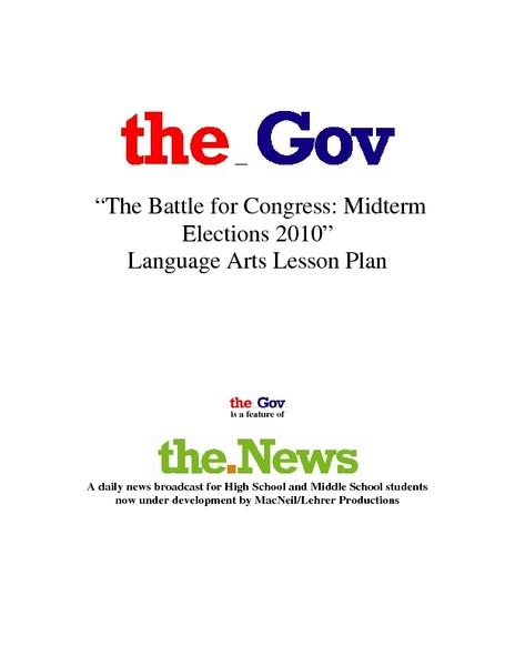 """The Battle For Congress: Midterm Elections 2010"" Lesson Plan"