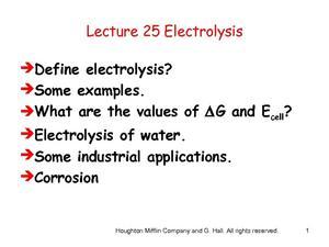 Electrolysis Lesson Plans & Worksheets | Lesson Planet