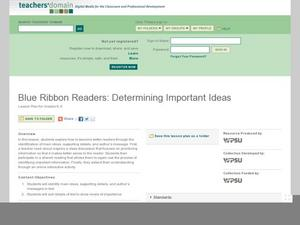 Blue Ribbon Readers: Determining Important Ideas Lesson Plan