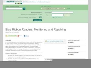 Blue Ribbon Readers: Monitoring and Repairing Lesson Plan