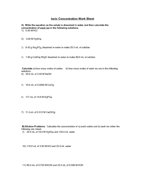 Ionic Concentration Worksheet Worksheet For 9th 12th