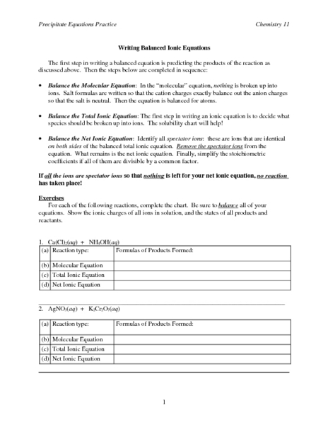 Writing Balanced Ionic Equations Worksheet