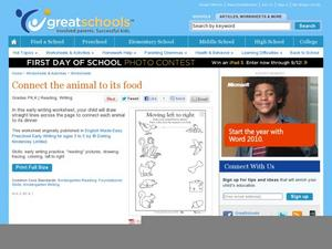 Connect the Animal to its Food Worksheet