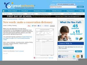 New Words: Make a Conservation Dictionary Worksheet