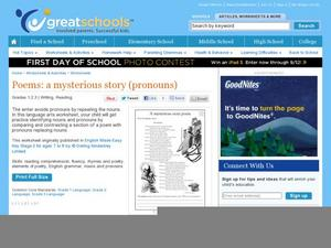 A Mysterious Story Poem Worksheet