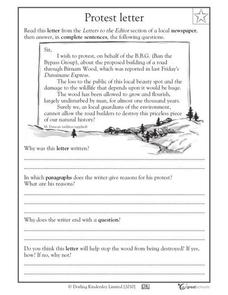 Protest Letter Worksheet