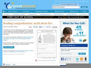 Reading Comprehension: Myth About Fire Worksheet