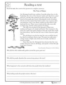 Reading Comprehension: Voice of Nature Worksheet