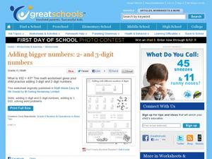 Adding Bigger Numbers: 2 and 3 Digit Numbers Worksheet