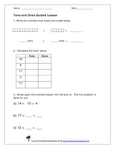 Tens and Ones Guided Lesson Worksheet