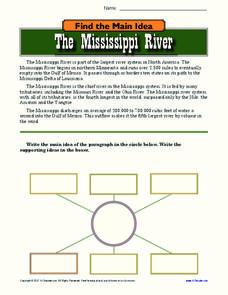 The Mississippi River Worksheet for 9th - 12th Grade ...