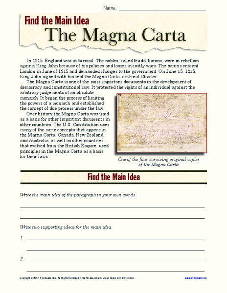 The Magna Carta Worksheet for 9th   12th Grade   Lesson Planet
