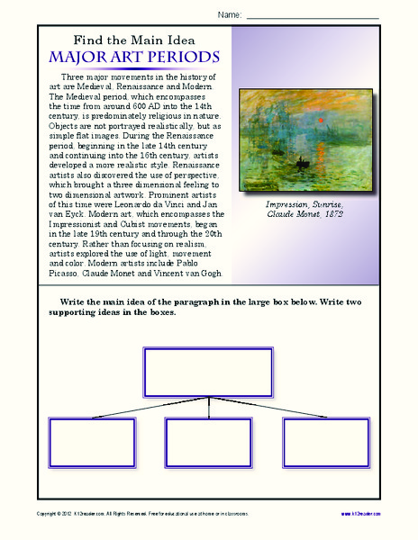 Major Art Periods Worksheet