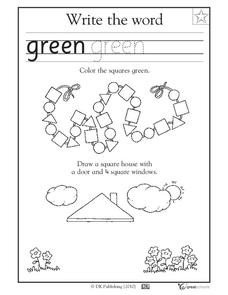 Coloring Squares - Write the Word Worksheet