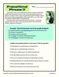 Prepositional Phrases II Worksheet