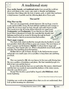 Reading Comprehension: Thor and Sif Worksheet