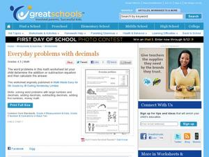 Everyday Problems with Decimals Worksheet