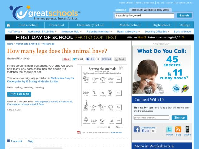 Sorting the Animals Worksheet