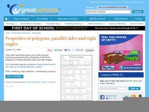 Properties of Polygons, Parallel Sides, and Right Angles Worksheet