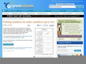 Putting Numbers in Order, Numbers up to 100 Worksheet