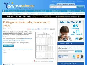 Putting Numbers in Order, Numbers Up to 9,900 Worksheet