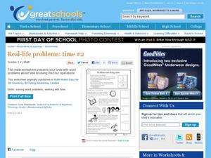 Real-Life Problems: Time #2 Worksheet