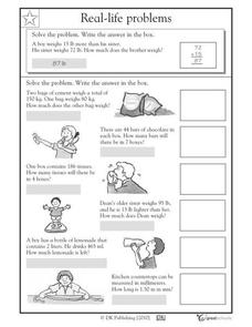 Real-life Word Problems, Part 4 Worksheet