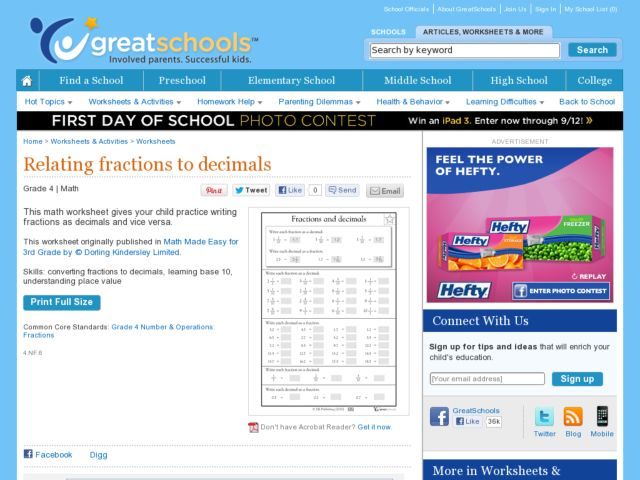 Relating Fractions to Decimals Worksheet