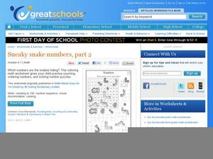 Sneaky Snake: Numbers, Part 2 Worksheet