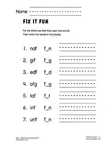 Fix It Fun Worksheet