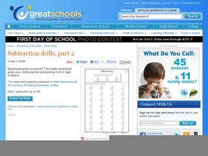 Subtraction Drills, Part 2 Worksheet