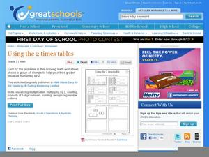 Using the 2 Times Tables Worksheet