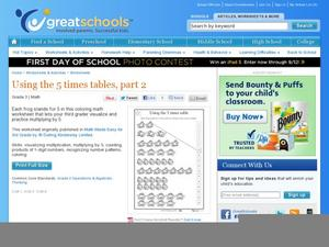 Using the 5 Times Tables, Part 2 Worksheet