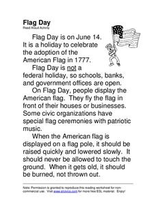 Flag Day Worksheet