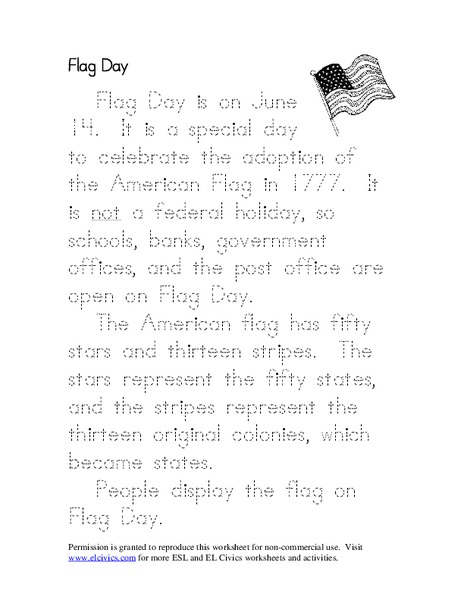 photograph relating to Flag Day Printable Activities referred to as Flag Working day Worksheet for 1st - 5th Quality Lesson World