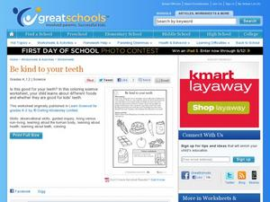 Be Kind to Your Teeth Worksheet