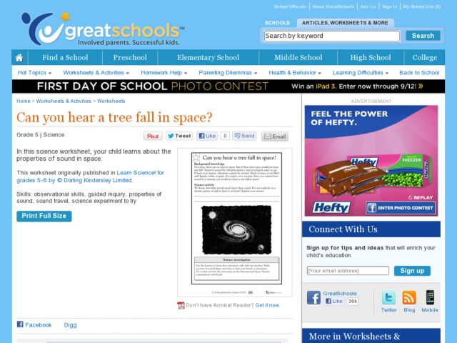 Can You Hear a Tree Fall in Space? Worksheet